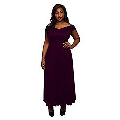 Scarlett & Jo - Burgundy plus size wrap maxi dress
