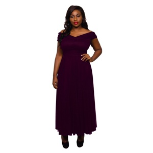 Scarlett & Jo Burgundy plus size wrap maxi dress