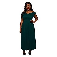 Scarlett & Jo - Green plus size wrap maxi dress