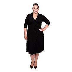 Scarlett & Jo - Black plus size wrap collar dress
