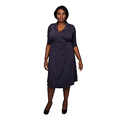 Scarlett & Jo - Grey plus size wrap collar dress
