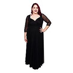 Scarlett & Jo - Black plus size wrap top belted dress