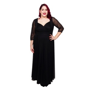Scarlett & Jo Black plus size wrap top belted dress