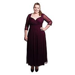 Scarlett & Jo - Burgundy plus size wrap top belted dress