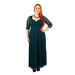 Scarlett & Jo - Green plus size wrap top belted dress