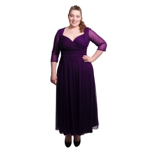 Scarlett & Jo Purple plus size wrap top belted dress