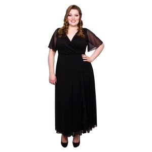 Scarlett & Jo Black plus size frill front dress