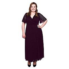 Scarlett & Jo - Burgundy plus size frill front dress