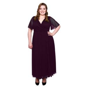 Scarlett & Jo Burgundy plus size frill front dress