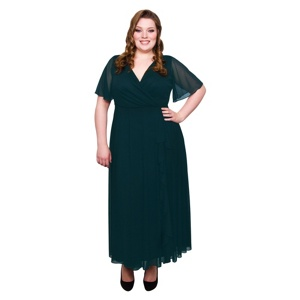 Scarlett & Jo Green Plus Size Frill Front Dress