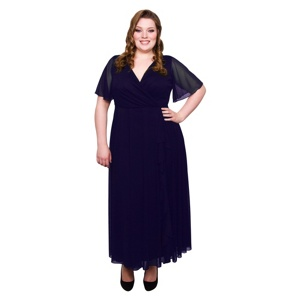 Scarlett & Jo Purple Plus Size Frill Front Dress