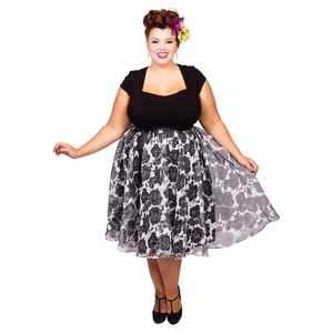 Scarlett & Jo Black plus size organza rose dress