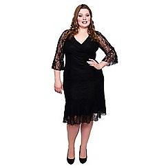 Scarlett & Jo - Black frill hem and sleeve midi dress