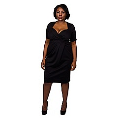 Scarlett & Jo - Black plus size twist bodycon midi dress