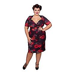 Scarlett & Jo - Black floral print plus size bodycon dress