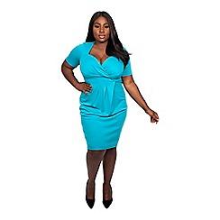 Scarlett & Jo - Mosaic blue plus size bodycon dress