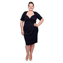 Scarlett & Jo - Navy plus size twist bodycon midi dress