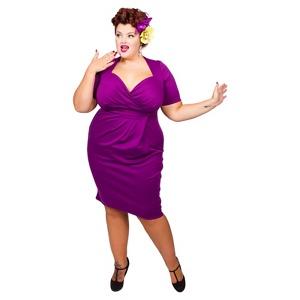 Scarlett & Jo Purple Plus Size Twist Bodycon Dress