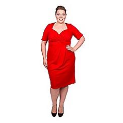 Scarlett & Jo - Red plus size twist bodycon midi dress