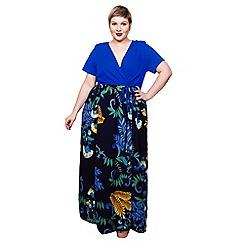 Scarlett & Jo - Blue floral plus size 2-in-1 maxi dress