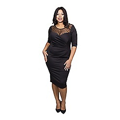 Scarlett & Jo - Black plus size mesh bodycon dress