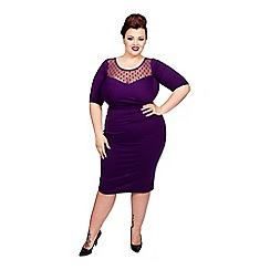Scarlett & Jo - Purple plus size spot mesh dress