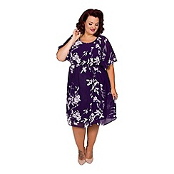 Scarlett & Jo - Purple floral print plus size 2 in 1 kimono dress