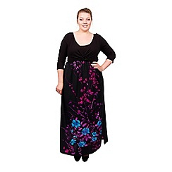 Scarlett & Jo - Black and floral plus size maxi dress