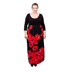 Scarlett & Jo - Black and red poppy plus size maxi