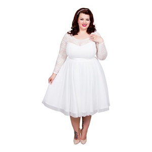 Scarlett & Jo Ivory Plus Size Bridal Lace Prom Dress