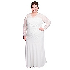 Scarlett & Jo - Ivory plus size bridal lace neck dress