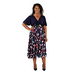 Scarlett & Jo - Navy plus size floral print wrap dress