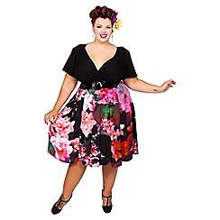 Scarlett & Jo - Black plus size petite floral wrap midi dress
