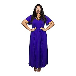 Scarlett & Jo - Purple plus size frill seam dress