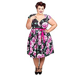 Scarlett & Jo - Pink rose plus size prom midi dress