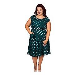 Scarlett & Jo - Green plus size spot pocket dress