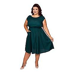 Scarlett & Jo - Green plus size pocket dress