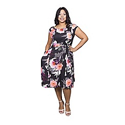 Scarlett & Jo - Floral print plus size pocket dress
