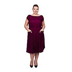Scarlett & Jo - Burgundy plus size pocket midi dress