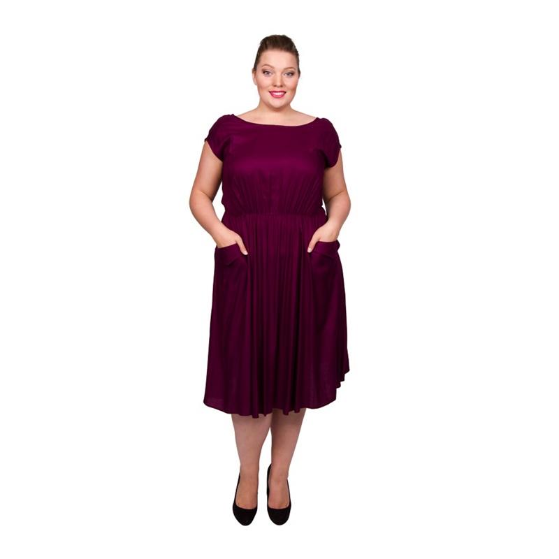 Scarlett & Jo Burgundy Plus Size Pocket Midi Dress, Women's, Size: 12, Red, Casual dresses