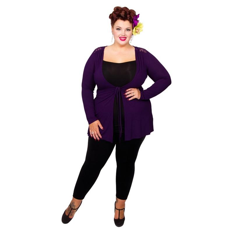Scarlett & Jo Purple Plus Size Lace Cardigan, Women's, Size: 30.