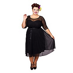 Scarlett & Jo - Black plus size guipure lace prom midi dress