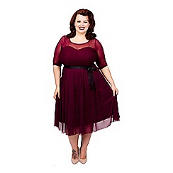 Scarlett & Jo - Burgundy plus size guipure lace dress