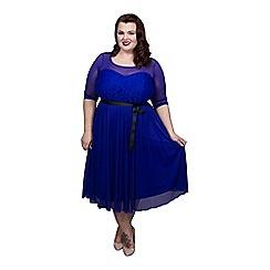 Scarlett & Jo - Blue plus size lace and chiffon dress