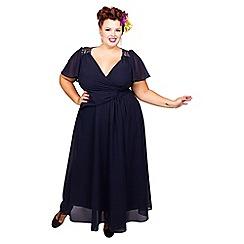 Scarlett & Jo - Navy embroidered plus size dress