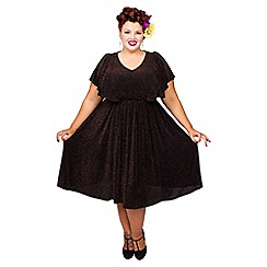 Scarlett & Jo - Black and gold plus size lurex dress