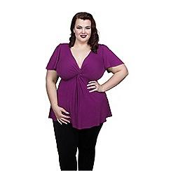 Scarlett & Jo - Purple plus size knot front crepe tunic