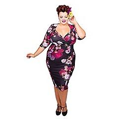 Scarlett & Jo - Floral plus size twist bodycon dress