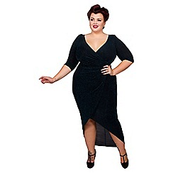 Scarlett & Jo - Black and sky plus size lurex dress