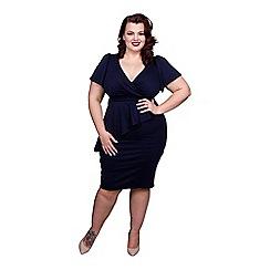 Scarlett & Jo - Navy plus size wrap bodycon dress